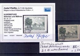 Theresienstadt Paket Zulassungsmarke Z1 Untere Eckrand - Usados