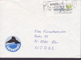 Denmark Nybøl SØNDERBORG Slogan Flamme GENAA 1986 Cover Brief ØLEN Norway GREENPEACE Vignette Amnesty International - Cartas
