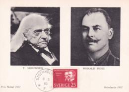 Sweden  - Maximum Postcard 1963 - Nobel Prize Winners: Literature T. Mommsen And Medicine Ronald Ross - Nobelprijs
