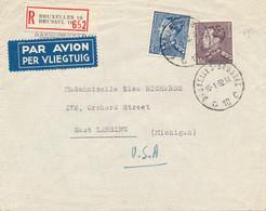 België - 1952 - 10 & 4F Leopold III Op R-cover Van Brussel Naar East Lansing / USA - Storia Postale