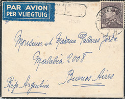 België - 1951 - 10F Leopold III, Enkelfrankering Op Rouwbriefje (met Inhoud) Van Ixelles Naar Buenos Aires / Argentina - Storia Postale