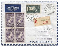 France J.Mermoz N°337 Et 338 Bloc De 4 Sur Lettre Pour Le CHili 1°jour. RARE. - Sin Clasificación
