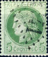 FRANCE - 1872 Yv.53 5c Vert Variétés Lettres Minces (REPUB FRANC) -  Obl. B/TB - 1871-1875 Ceres