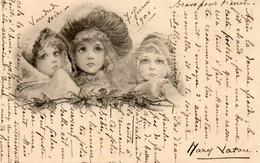 CPA. - Gravure De 3 Têtes De Jeunes Filles - 1901. - Scan Du Verso  - - 1900-1949
