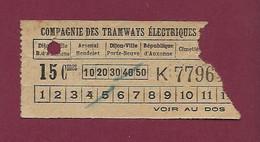 260121 TICKET CHEMIN DE FER TRAM METRO - TRAMWAYS ELECTRIQUES DIJON 15 Cmes K7796 - Europe