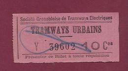 260121 TICKET CHEMIN DE FER TRAM METRO - TRAMWAYS URBAINS SGTE GRENOBLE Y 39602 10 Ces - Europe