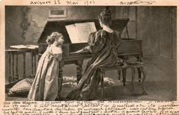 CPA. - Maman Joue Du Piano - Fillette En Extase -  1901. - Scan Du Verso  - - Ante 1900