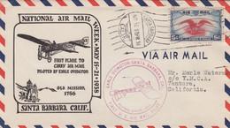 National Air Mail Week, Earle Ovington Pilot Santa Barbara California, 1938 Air Mail Cover - Event Covers