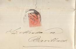 Año 1882 Edifil 210 Carta Matasellos Pamplona Membrete Prudencio Valencia Amenaza Al Alcalde  De Barrillas - Cartas