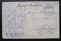 """Deutsches Reich 1915, Jugend - Postkarte KEMPTEN I. ALGÄU """"Rast Bayrischer Jäger"""" - Covers & Documents"""