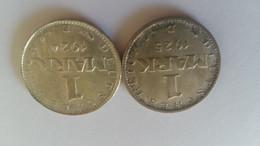 2 Monnaies En Argent De 1 Mark 1924 Et 1925 - 1 Marco & 1 Reichsmark