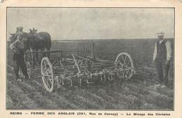 CPA 51 Marne Reims Ferme Des Anglais 281 Rue De Cernay Le Binage Des Céréales Matériel Agricole Attelage Bineuse - Reims