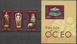 VIETNAM, 2020, MNH, ARCHAEOLOGY, ANCIENT RELICS, STATUES, 3v+S/SHEET - Archéologie