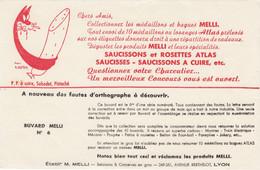 Buvard - Blotter - PRODUITS MELLI - SAUCISSONS ATLAS - Illustration Seytier CHAT - N° 6 - MELLI Avenue Berthelot LYON - Sin Clasificación