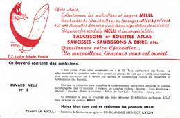 Buvard - Blotter - PRODUITS MELLI - SAUCISSONS ATLAS - Illustration Seytier CHAT - N° 5 - MELLI Avenue Berthelot LYON - Sin Clasificación