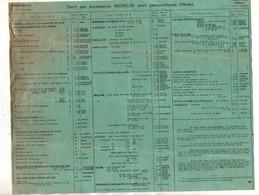Tarif Des Accessoires Michelin Pour Pneumatiques D'Autos France 1 Er Octobre 1931 - Automovilismo