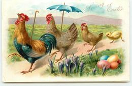 N°16912 - Carte Gaufrée - Loving Easter - Famille De Poules Se Promenant - Easter