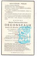 DP Marie Th. DeCosseaux ° Jauchelette Jodoigne Geldenaken 1891 † Tirlemont Tienen 1940 X Herpen / Inh. Énines Orp-Jauche - Imágenes Religiosas