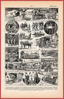 Ambulance Militaire. Matériels: Avion Sanitaire, Wagon, Automobile ... Illustration L Bombled. Militaria. Larousse 1922. - Documentos Históricos