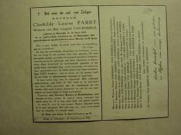 BP 689 - PARET CLOTHILDE - KORTRIJK 30.04.1878 - KORTRIJK 14.09.1954 - ZIE 2 FOTO'S - Imágenes Religiosas