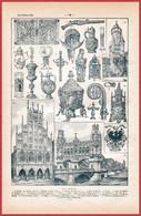 Allemagne. Illustration De L'art Allemand: Architecture, Objets D'art. Carte Avec Canaux, Chemin De Fer. Larousse 1922. - Documentos Históricos