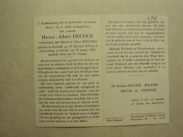 BPB 694 - DECOCK HECTOR - KORTRIJK 27.02.1891 - KORTRIJK 10.03.1969 - ZIE 2 FOTO'S - Imágenes Religiosas
