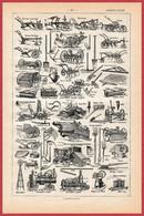 Agriculture. Matériels Agricoles. Charrue, Batteuse, Locomotive ... Illustration M Dessertenne. Larousse 1922. - Documentos Históricos
