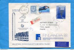 MARCOPHILIE-FINLANDE Lettre-LYMPIC STADIUM Cad Vantaa1988+thematic Stamps +Vignette Télemuseo - Cartas
