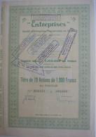 S.A. Entreprises - Société D'entreprises Commerciales En Egypte  - Titre De 10 Actions 1000fr - Sin Clasificación