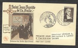 0LE  034  -  France  -  FDC  :  Yv  882  (o)   Jean-Baptiste De La Salle - 1950-1959