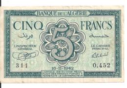 ALGERIE 5 FRANCS 1942 VF P 91 - Argelia