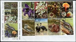 2012 Nepal Biodiversity: Grass Babbler, White-rumped Vulture, Hare, Gecko, Flowers, Mushroom FDC - Unclassified