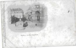 NANTES - LA PLACE SAINT-PIERRE - CARTE PRECURSEUR AVEC SUPERBE ANIMATION, TRAMWAY - DEBUT 1900 - Nantes