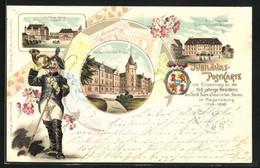 Lithographie Regensburg, Hotel Freisinger Hof, Schloss Taxis, Postillon, Wappen Thurn Und Taxis - Regensburg
