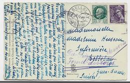 PETAIN 2FR+ 40C MERCURE CARTE ANTIBES 1942 POUR SUISSE TARIF 2FR40 - 1921-1960: Modern Tijdperk