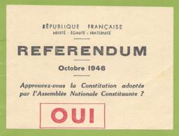 REPUBLIQUE FRANCAISE REFERENDUM Octobre 1946 - Historische Dokumente
