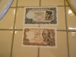 SPAIN    100  AND  500 PESETAS    -  2  BILLETS   A / UNC  -   NEUF - 500 Pesetas