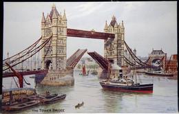 Salmon #1207 Tower Bridge London By AR Quinton Post Card NM - Quinton, AR