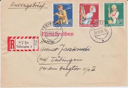 Bund Mi 298-300 Wohlfahrt Landwirtschaft RBf Tübingen 1958 - Cartas