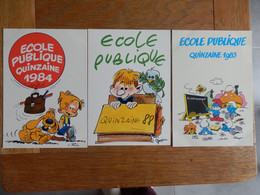 (19)  Lot De 3 Cartes Sur L' Ecole Publique, Par Illustrateurs - School