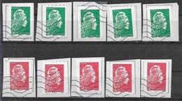 2018 FRANCE Adhesif 1601-02 Oblitérés, Marianne YZ, Roulettes, X5, Côte 9.00 - Adhesive Stamps