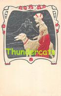 CPA EN RELIEF GAUFREE FEMME ART NOUVEAU CHIEN EMBOSSED CARD DOG WOMAN GREYHOUND GRAYHOUND PITTIUS  ( GENRE KIRCHNER ) - Andere Zeichner