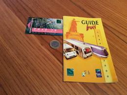 """Ticket De Bus CGFTE PASS """"PASS 10"""" Type 3 - Nancy (54) (vase Aux Libellules 1904 Daum) + GUIDE BUS 1999-2000 (28 Pages) - Europe"""