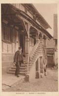 CARTE POSTALE ORIGINALE ANCIENNE : BOUXWILLER MAISON ALSACIENNE LE PERRON A BALUSTRES ANIMEE HAUT RHIN (68) - Autres Communes