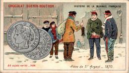 Chromo Chocolat Guérin-Boutron Histoire De La Monnaie Française Pièce De 5 Francs Argent_1870 Money N°74 B.Etat - Guérin-Boutron