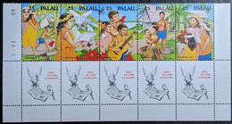 """Palau, 1990, Michel 397-401, Christmas, Illustrations Christmas Song """"Here We Come A-caroling"""", Strip Of 5v, MNH - Musica"""