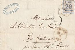 France Alsace Lettre Taxée 25 Thann 1871 - Alsace Lorraine