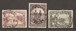 Congo Belge 1939/40 -  Petit Lot De 3 Timbres Avec Cachet KIPUSHI -  Marcophilie - COB 170/174/177A - 1923-44: Used