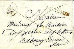 1828- Lettre De LA PALISSE ( Allier ) 39 X 10 1/2 Mm Noir En Franchise Pour La Directrice Des Postes à Oissens - 1801-1848: Voorlopers XIX
