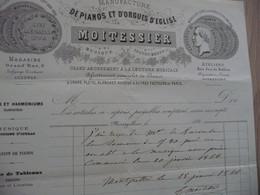 Facture Montpellier Moitessier Manufacture De Pianos 1866 - Food